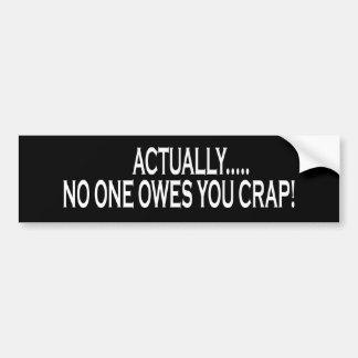 Actually No One Owes You Crap Car Bumper Sticker