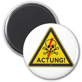 Actung Toxic Skull and Crossbones Warning Sign 2 Inch Round Magnet