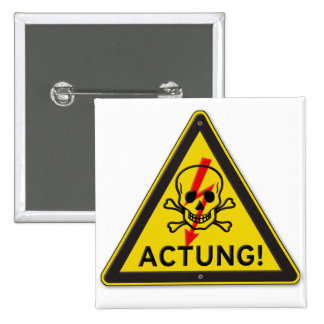 Actung Toxic Skull and Crossbones Warning Sign Buttons
