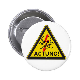 Actung Toxic Skull and Crossbones Warning Sign Button