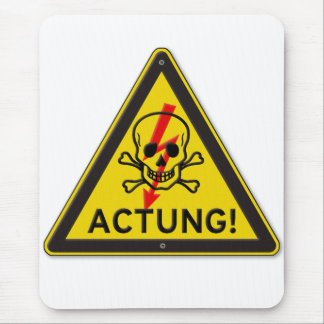 Actung Toxic Skull and Crossbones Warning Sign Mouse Pad