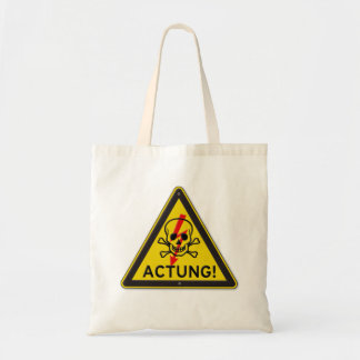 Actung Toxic Skull and Crossbones Warning Sign Tote Bag