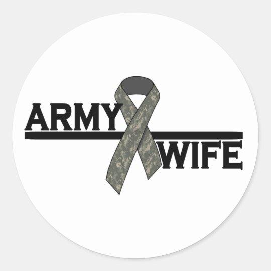 ACU Ribbon w/Army Wife Classic Round Sticker