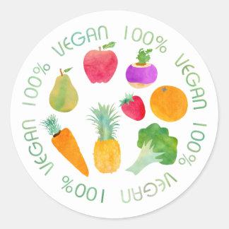 Acuarela 100% de la fruta y verdura del vegano pegatina redonda