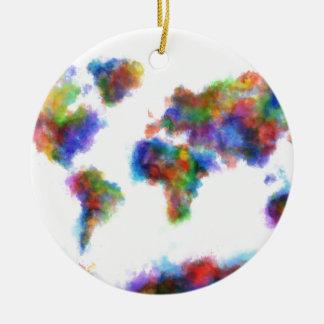 acuarela 16 del mapa del mundo adorno navideño redondo de cerámica