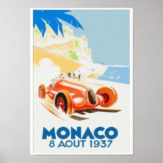 Acuarela 1937 de Grand Prix Mónaco Póster