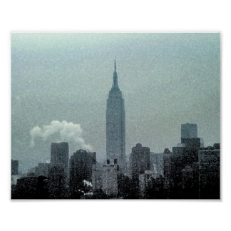 Acuarela 8x10 del Empire State Building Póster