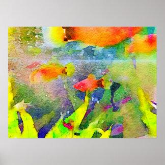 Acuarela abstracta 1 del acuario del cuenco de los impresiones