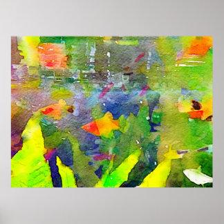 Acuarela abstracta 2 del acuario del cuenco de los poster