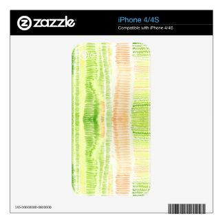 Acuarela abstracta amarilla verde calcomanías para el iPhone 4S