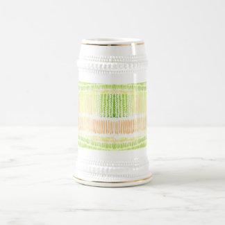 Acuarela abstracta amarilla verde jarra de cerveza