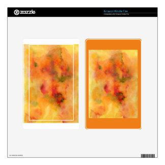 Acuarela abstracta anaranjada skin para kindle fire