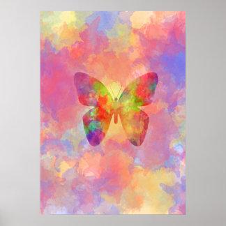 Acuarela abstracta caprichosa del arco iris de la  póster