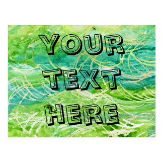 Acuarela abstracta herbosa verde para personalizar postal