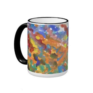 Acuarela abstracta multicolora taza de dos colores