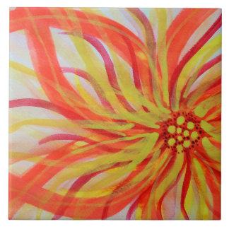 Acuarela abstracta viva floral azulejo cuadrado grande