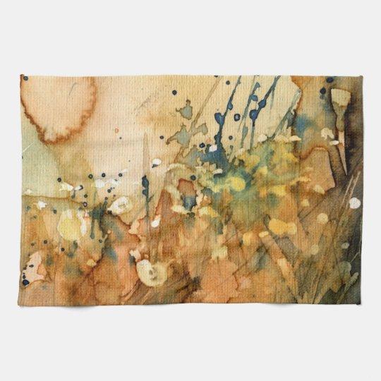 Acuarela abstracta y viejo fondo toalla de cocina
