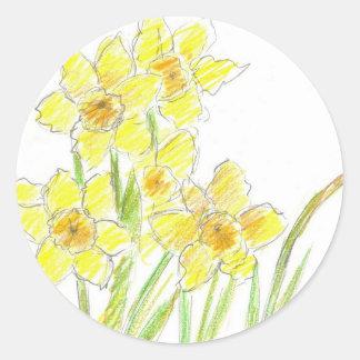 Acuarela amarilla de la flor de los narcisos de la pegatina redonda