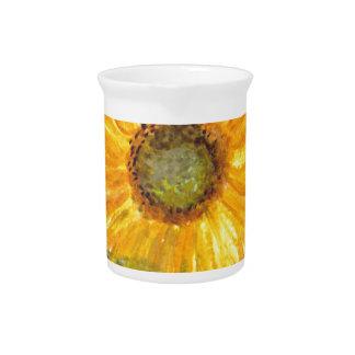 Acuarela amarilla de la flor del girasol jarras de beber