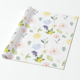 Acuarela amarilla rosada floral papel de regalo