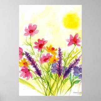 Acuarela amarilla soleada de la flor salvaje impresiones