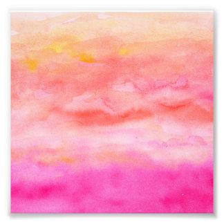 Acuarela anaranjada rosada brillante de la puesta cojinete