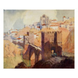 Acuarela antigua del paisaje de Toledo del vintage Póster