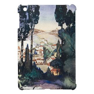 Acuarela antigua Fiesole Italia del paisaje del vi iPad Mini Cárcasas