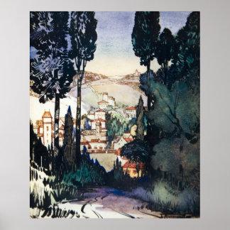 Acuarela antigua Fiesole Italia del paisaje del vi Póster
