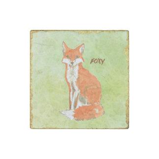 Acuarela astuta del Fox del jengibre Imán De Piedra