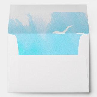 Acuarela azul de la aguamarina, boda de playa de sobre
