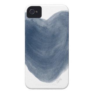 Acuarela azul de la edición del corazón carcasa para iPhone 4