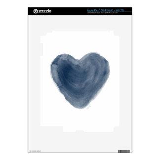 Acuarela azul de la edición del corazón iPad 3 skin