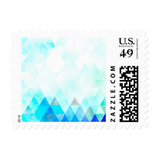 Acuarela azul de los triángulos de la aguamarina timbre postal