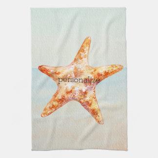 Acuarela azul del océano de las estrellas de mar toallas de cocina
