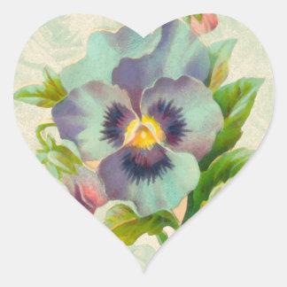 Acuarela azul del pensamiento del vintage pegatina corazón personalizadas