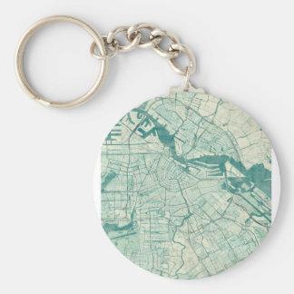 Acuarela azul del vintage del mapa de Amsterdam Llavero Redondo Tipo Pin