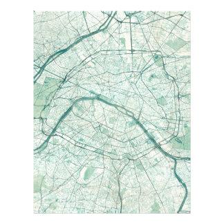 Acuarela azul del vintage del mapa de París Plantillas De Membrete