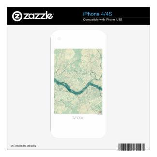Acuarela azul del vintage del mapa de Seul iPhone 4 Calcomanía