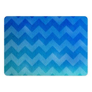 Acuarela azul Ombre Chevron Tarjetas De Visita Grandes