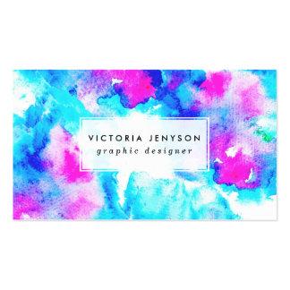 Acuarela azul rosada pintada a mano moderna tarjetas de visita