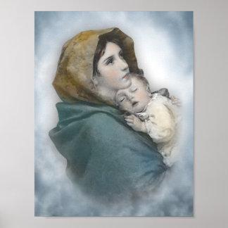Acuarela bendecida de Jesús de la madre y del bebé Póster