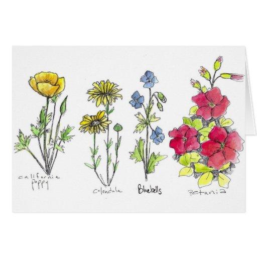 Acuarela botánica del dibujo de la tinta del Wildf Tarjetón