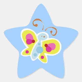 ACUARELA BUTTERFUL C del DIBUJO ANIMADO Calcomanías Forma De Estrella