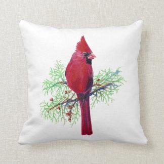 Acuarela cardinal, pájaro rojo cojín decorativo