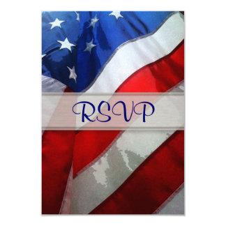 """Acuarela colgante de la bandera americana invitación 3.5"""" x 5"""""""