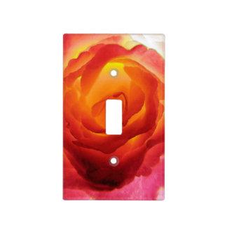 Acuarela color de rosa bicolor roja y amarilla placas para interruptor
