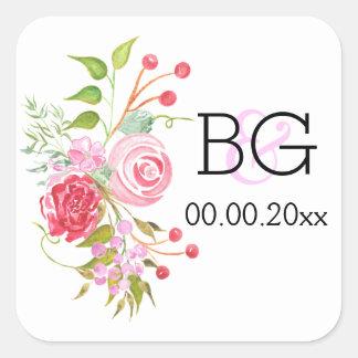Acuarela color de rosa de la flor del monograma pegatina cuadrada