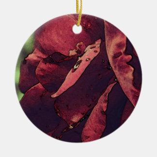 Acuarela color de rosa mojada del terciopelo de adorno redondo de cerámica
