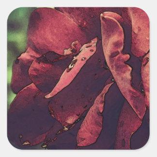 Acuarela color de rosa mojada del terciopelo de pegatinas cuadradas